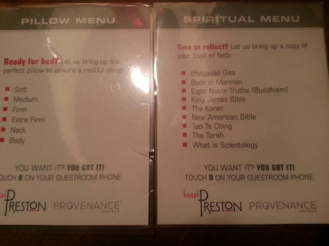 spiritual menu